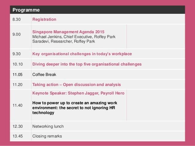 Michael Jenkins and Saradevi May 2015 THE SINGAPORE MANAGEMENT AGENDA