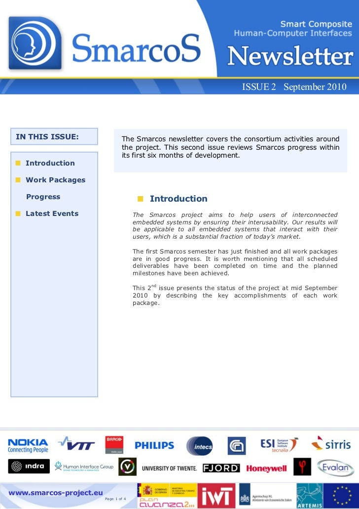 ISSUE 2 September 2010 IN THIS ISSUE:                  The Smarcos newsletter covers the consortium activities around     ...