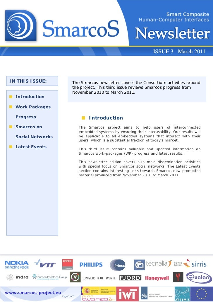 ISSUE 3 March 2011 IN THIS ISSUE:                  The Smarcos newsletter covers the consortium activities around         ...