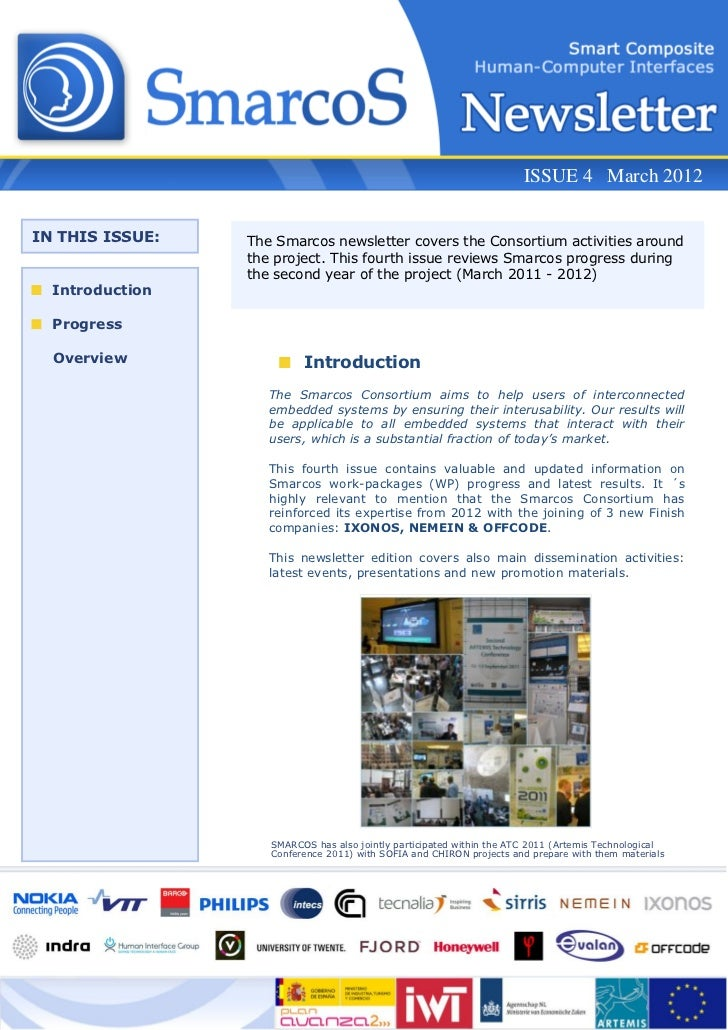 ISSUE 4 March 2012IN THIS ISSUE:   The Smarcos newsletter covers the Consortium activities around                 the proj...