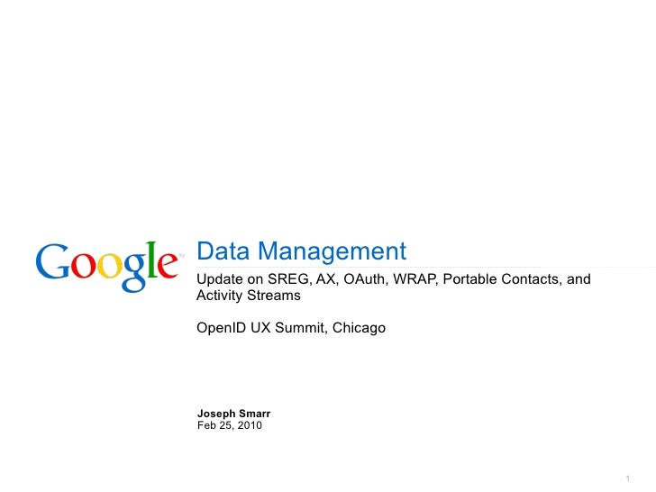 Data Management Update on SREG, AX, OAuth, WRAP, Portable Contacts, and Activity Streams OpenID UX Summit, Chicago Joseph ...