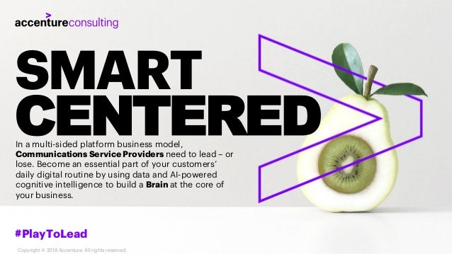 SMART CENTERED #PlayToLead Copyright © 2018 Accenture. All rights reserved. In a multi-sided platform business model, Comm...