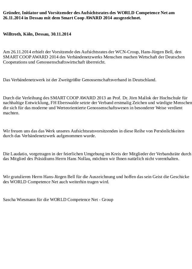 Gründer, Initiator und Vorsitzender des Aufsichtsrates des WORLD Competence Net am 26.11.2014 in Dessau mit dem Smart Coop...
