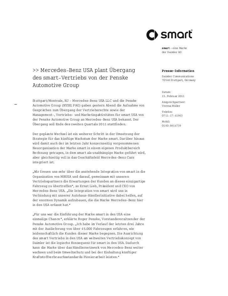 smart – eine Marke                                                                        der Daimler AG>> Mercedes Benz U...