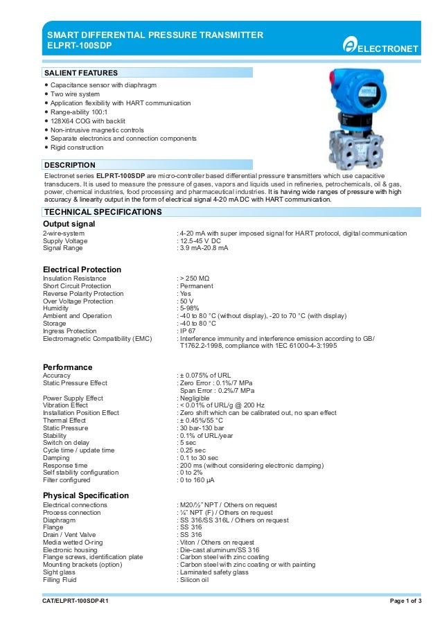 Page 1 of 3CAT/ELPRT-100SDP-R1 ● Capacitance sensor with diaphragm ● Two wire system ● Application flexibility with HART co...