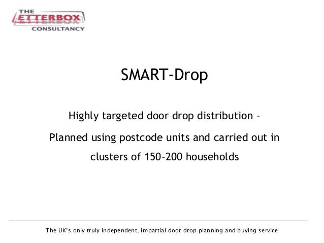 The UK's only truly independent, impartial door drop planning and buying service SMART-Drop Highly targeted door drop dist...