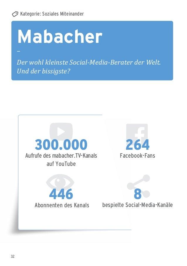32 Mabacher – Der wohl kleinste Social-Media-Berater der Welt. Und der bissigste? Kategorie: Soziales Miteinander 300.000 ...