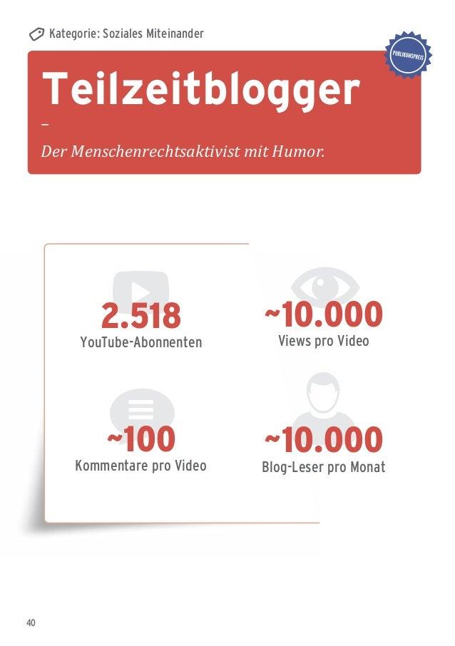 40 Teilzeitblogger – Der Menschenrechtsaktivist mit Humor. Kategorie: Soziales Miteinander ~10.000 Blog-Leser pro Monat ~1...