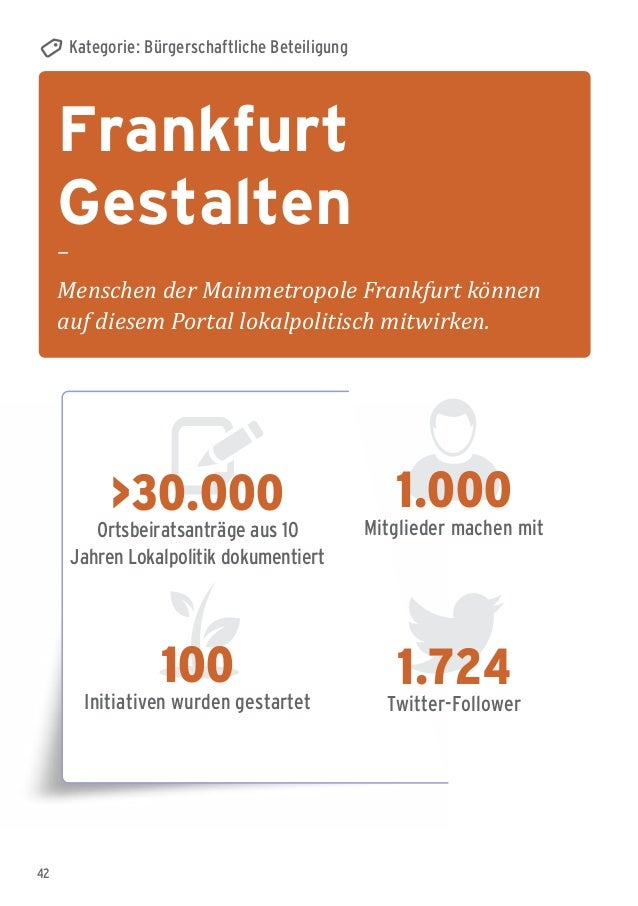 42 Frankfurt Gestalten – Menschen der Mainmetropole Frankfurt können auf diesem Portal lokalpolitisch mitwirken. Kategorie...