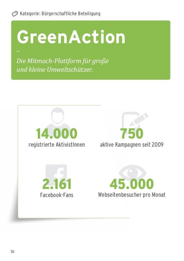 50 GreenAction – Die Mitmach-Plattform für große und kleine Umweltschützer. Kategorie: Bürgerschaftliche Beteiligung 45.00...
