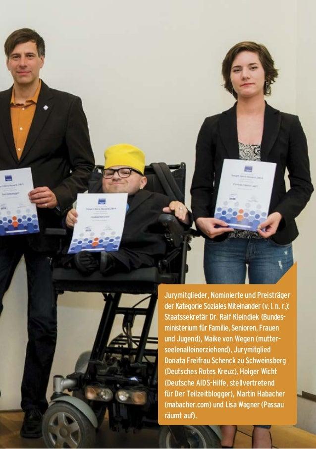 9 Jurymitglieder, Nominierte und Preisträger derKategorieSozialesMiteinander(v.l.n.r.): Staatssekretär Dr. Ralf Kleindiek ...