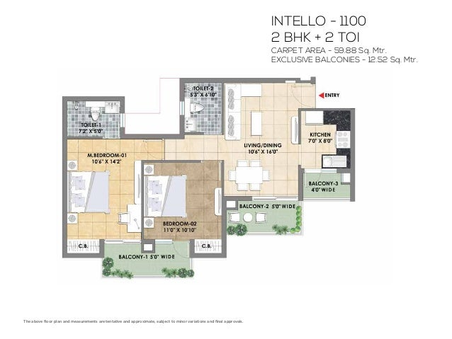 BRIGHTUS - 1285 3 BHK + 2 TOI CARPET AREA - 72.23 Sq. Mtr. EXCLUSIVE BALCONIES - 13.95 Sq. Mtr. The above floor plan and me...