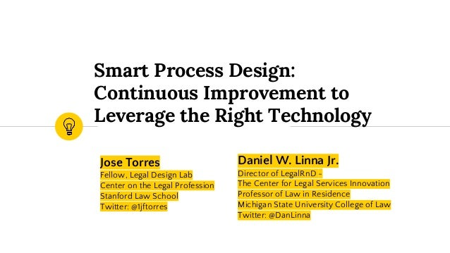 Jose Torres Fellow, Legal Design Lab Center on the Legal Profession Stanford Law School Twitter: @1jftorres Smart Process ...