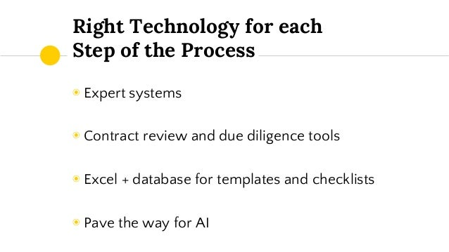 Smart process design continuous improvement to leverage for Technology due diligence template