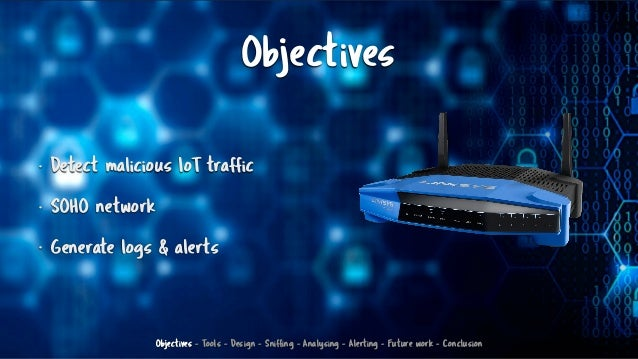 Objectives • Detect malicious IoT traffic • SOHO network • Generate logs & alerts Objectives - Tools - Design - Sniffing -...