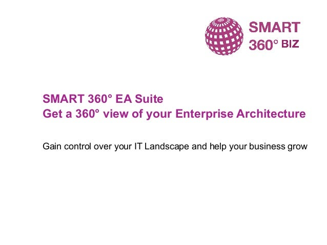 SMART 360° EA Suite Get a 360° view of your Enterprise Architecture Gain control over your IT Landscape and help your busi...
