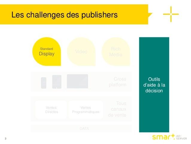 Les challenges des publishers  DATA  3  Standard  Display Video  Rich  Media  Outils  d'aide à la  décision  Cross  platfo...