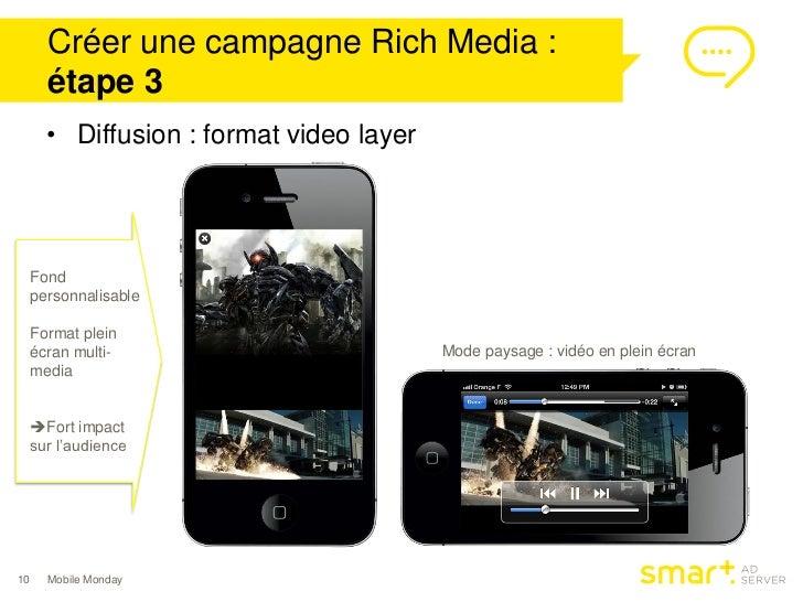 Créer une campagne Rich Media :       étape 3       • Diffusion : format video layer     Fond     personnalisable     Form...