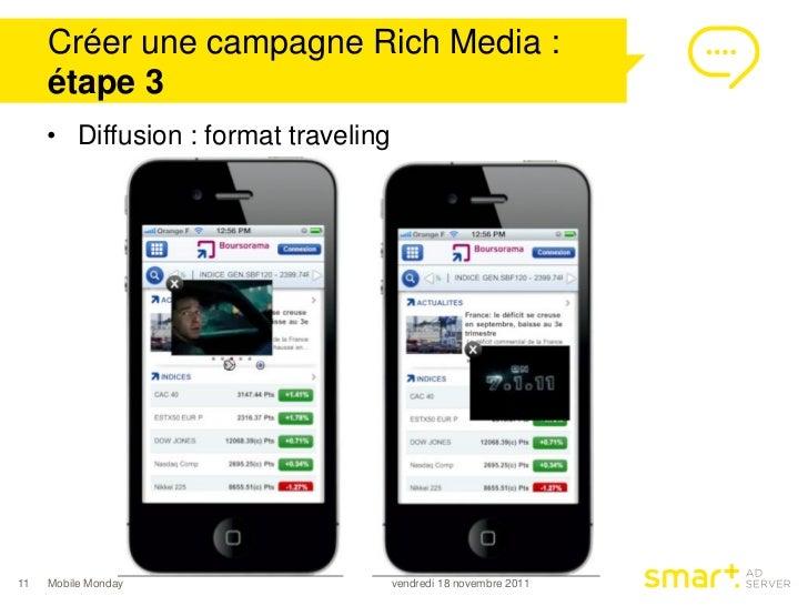 Créer une campagne Rich Media :     étape 3     • Diffusion : format traveling11   Mobile Monday                    vendre...