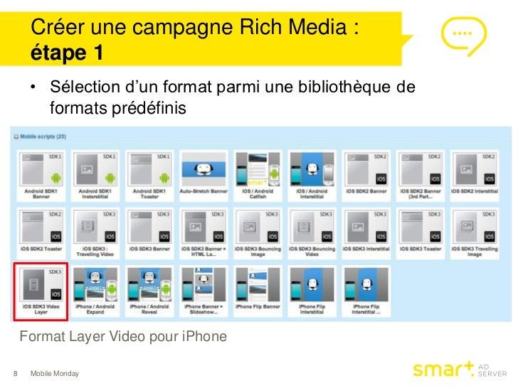 Créer une campagne Rich Media :     étape 1     • Sélection d'un format parmi une bibliothèque de       formats prédéfinis...