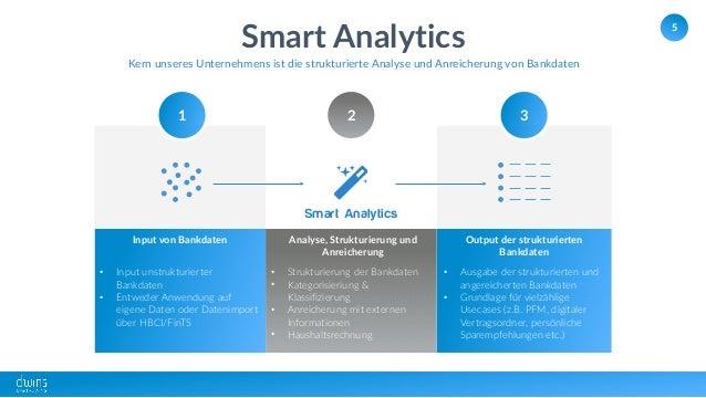 5 Smart Analytics Kern unseres Unternehmens ist die strukturierte Analyse und Anreicherung von Bankdaten Input von Bankdat...