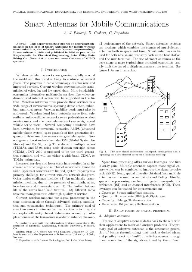 PAULRAJ, GESBERT, PAPADIAS, ENCYCLOPEDIA FOR ELECTRICAL ENGINEERING, JOHN WILEY PUBLISHING CO., 2000 1 Smart Antennas for ...