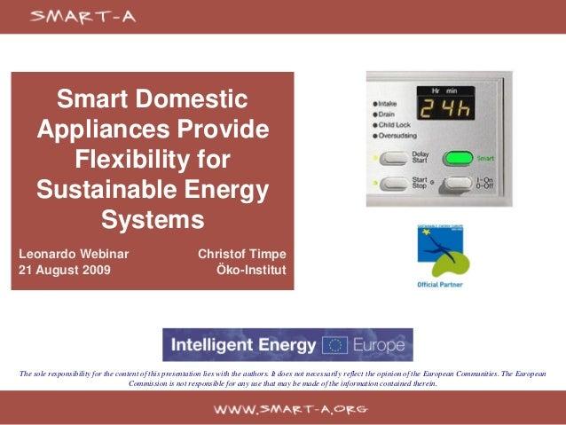 Smart Domestic     Appliances Provide       Flexibility for     Sustainable Energy          SystemsLeonardo Webinar       ...