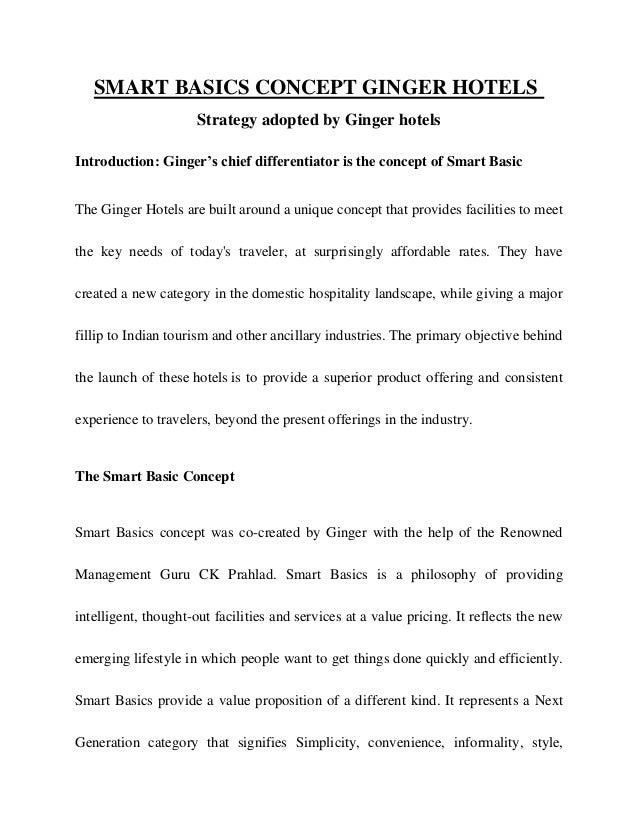 Smart Basic Concept Ginger Hotels Operations Management Case Study
