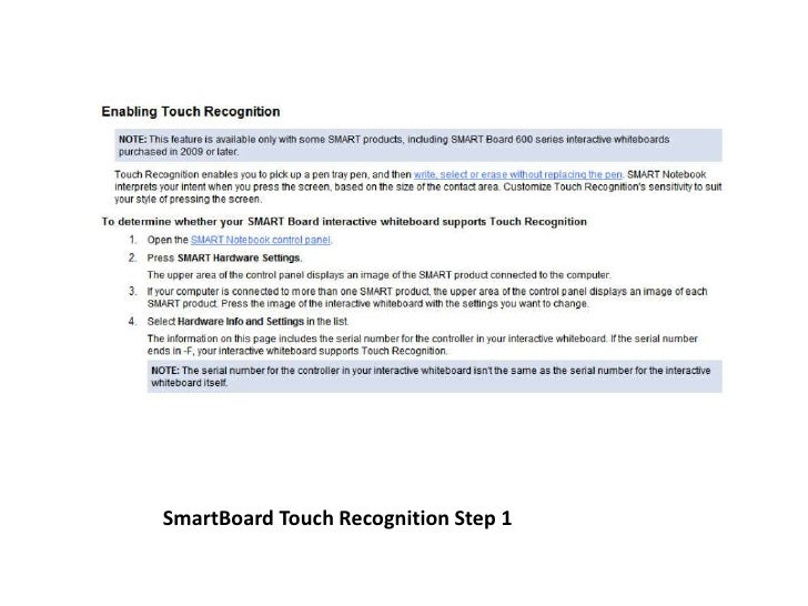 SmartBoard Touch Recognition Step 1<br />