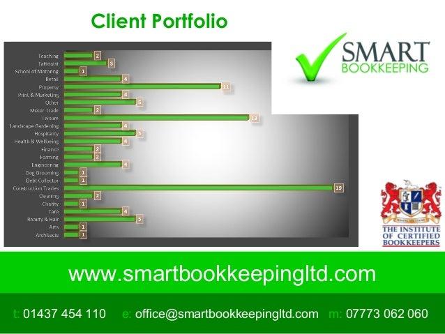 www.smartbookkeepingltd.com t: 01437 454 110 m: 07773 062 060e: office@smartbookkeepingltd.com Client Portfolio