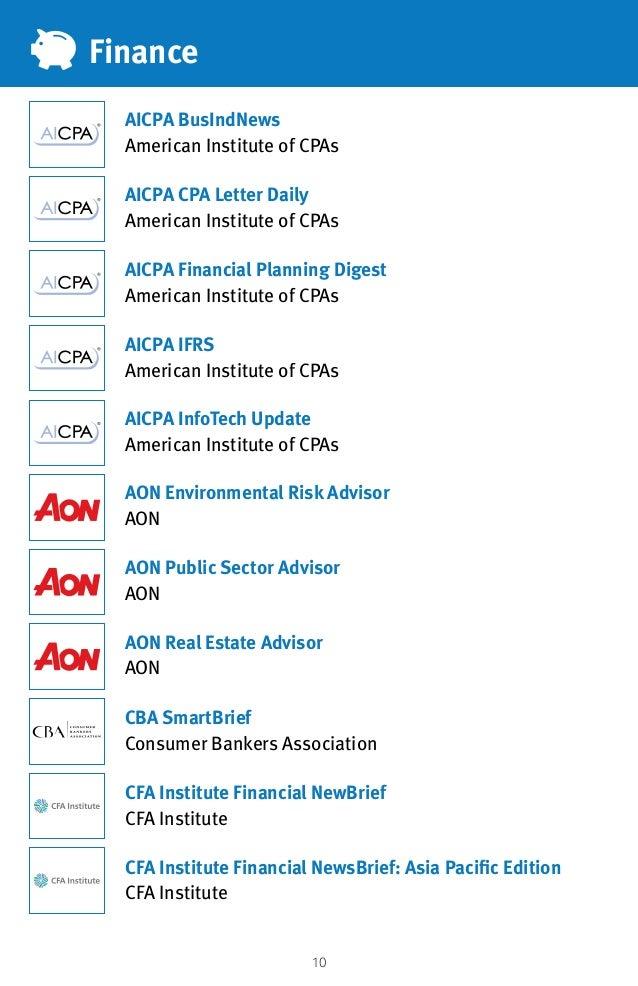 10 Finance AICPA CPA Letter Daily American Institute of CPAs AON Public Sector Advisor AON AON Real Estate Advisor AON AIC...