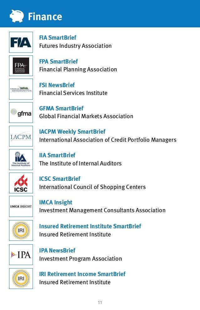 11 Finance FIA SmartBrief Futures Industry Association IACPM Weekly SmartBrief International Association of Credit Portfol...