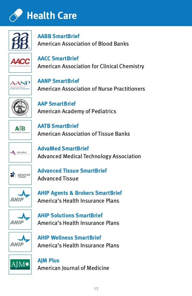17 Health Care AACC SmartBrief American Association for Clinical Chemistry AABB SmartBrief American Association of Blood B...