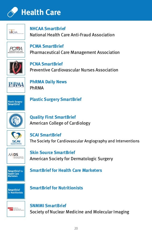 20 Health Care Plastic Surgery SmartBrief SmartBrief for Nutritionists PCMA SmartBrief Pharmaceutical Care Management Asso...