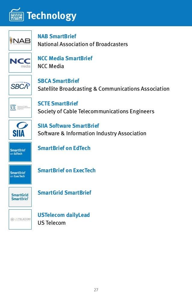 27 Technology SBCA SmartBrief Satellite Broadcasting  Communications Association USTelecom dailyLead US Telecom NCC Media ...