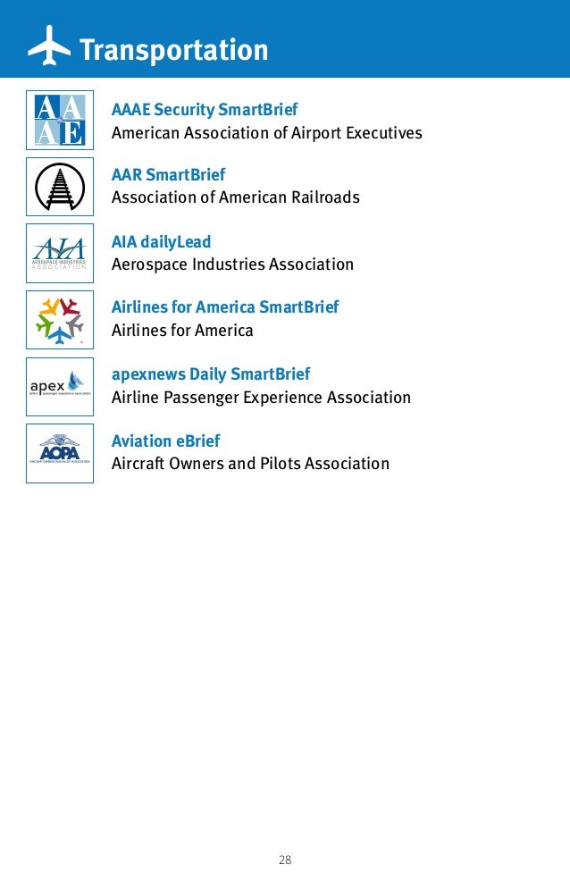 28 Transportation AAAE Security SmartBrief American Association of Airport Executives Airlines for America SmartBrief Airl...