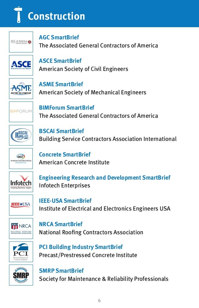 6 Construction ASCE SmartBrief American Society of Civil Engineers AGC SmartBrief The Associated General Contractors of Am...