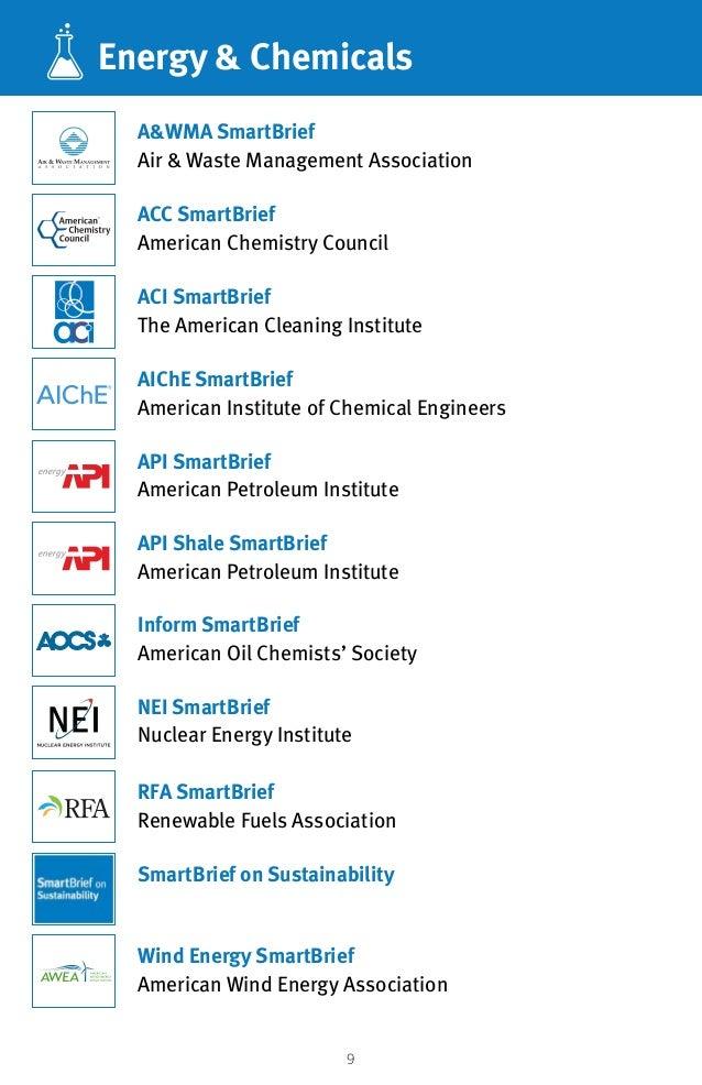 9 Energy  Chemicals ACC SmartBrief American Chemistry Council NEI SmartBrief Nuclear Energy Institute AWMA SmartBrief Air ...