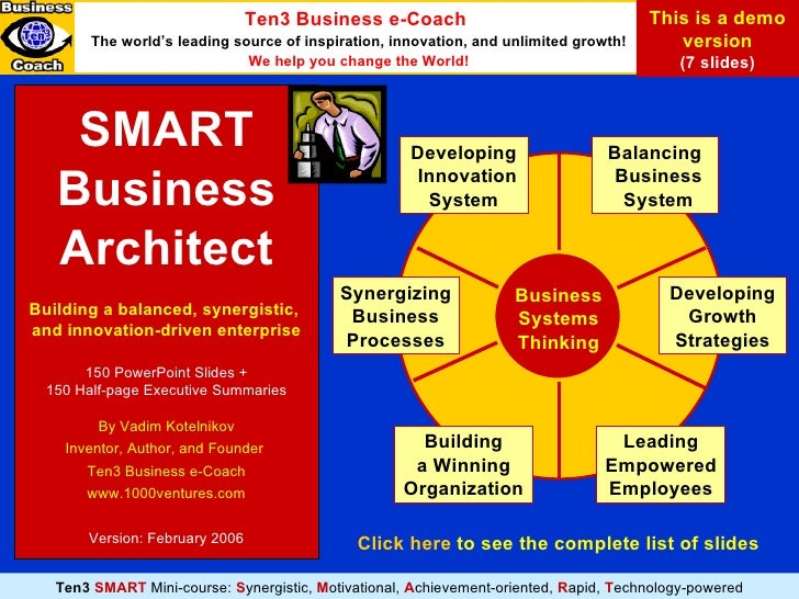 SMART Business Architect Building a balanced, synergistic,  and innovation-driven enterprise 150 PowerPoint Slides + 15 0 ...