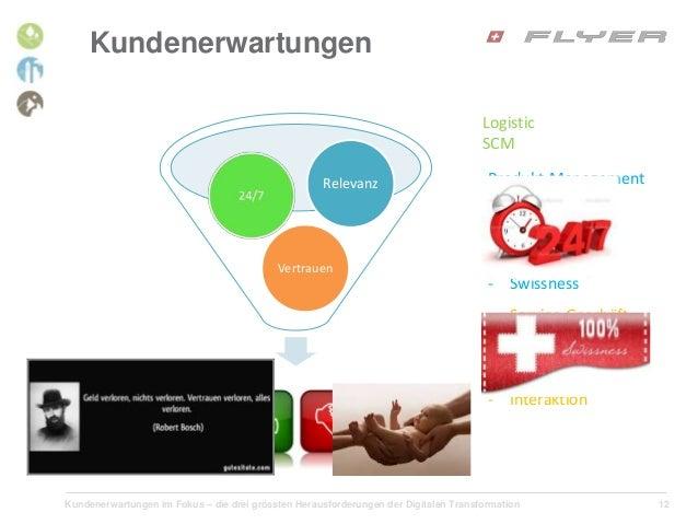Kundenerwartungen im Fokus – die drei grössten Herausforderungen der Digitalen Transformation 12 Kundenerwartungen Logisti...