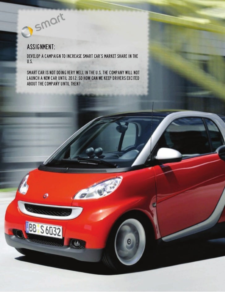 Assignment:Develop a campaign to increase Smart Car's market share in theU.S.Smart Car is not doing very well in the U.S. ...