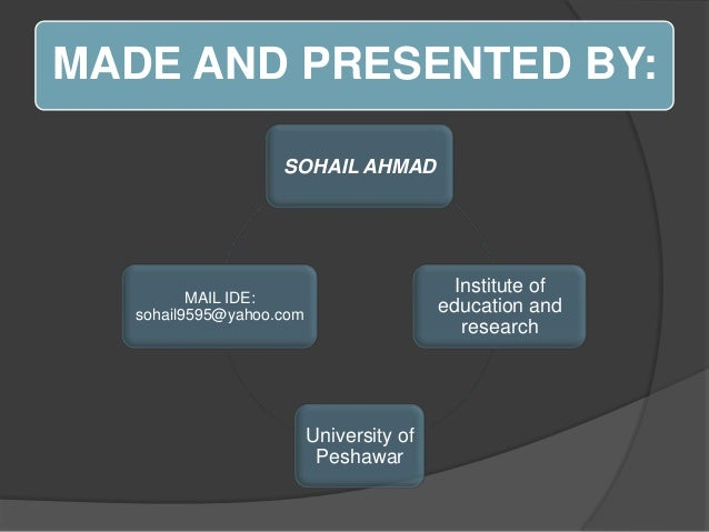 MADE AND PRESENTED BY: SOHAIL AHMAD  Institute of education and research  MAIL IDE: sohail9595@yahoo.com  University of Pe...