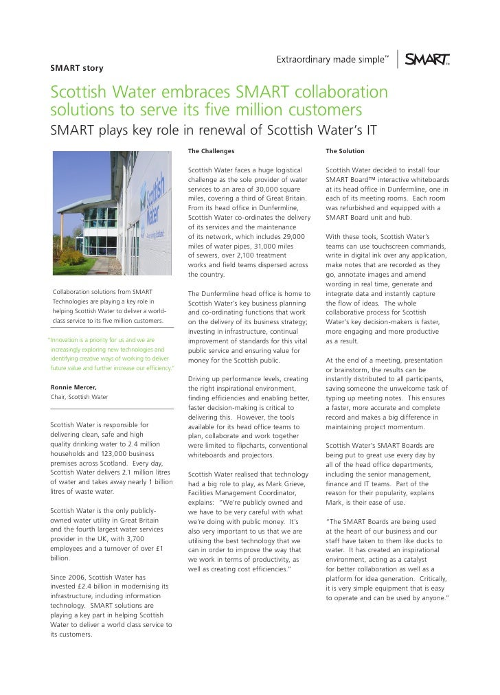 SMART story Scottish Water embraces SMART collaboration solutions to serve its five million customers SMART plays key role...