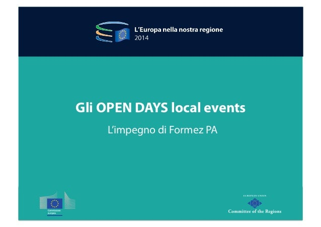 Gli OPEN DAYS local events  L'impegno di Formez PA