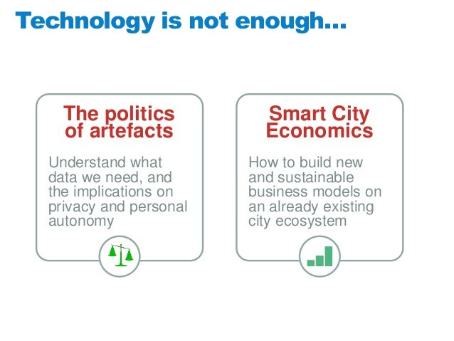Technology is not enough…  The politics of artefacts  Smart City Economics  Understand what data we need, and the implicat...