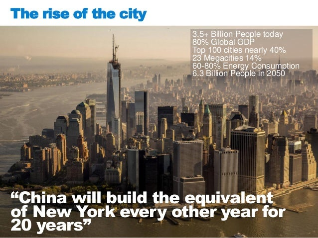 The rise of the city 3.5+ Billion People today 80% Global GDP Top 100 cities nearly 40% 23 Megacities 14% 60-80% Energy Co...