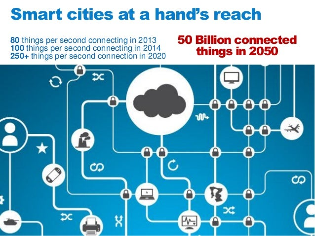 Smart cities at a hand's reach 80 things per second connecting in 2013 100 things per second connecting in 2014 250+ thing...