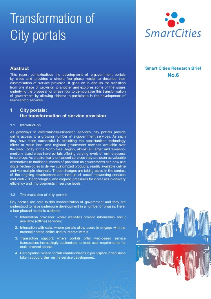 Transformation ofCity portalsAbstract                                                                            Smart Cit...