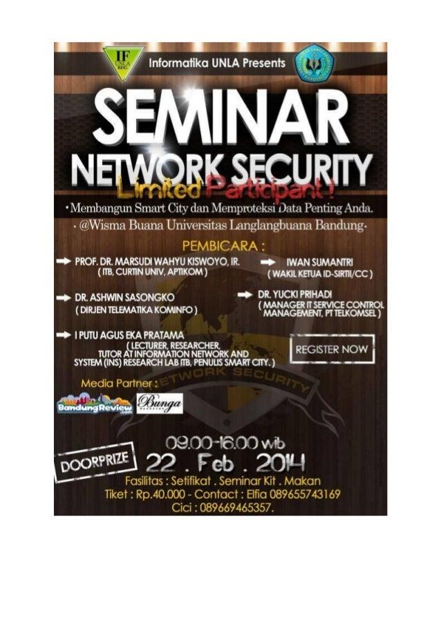 Seminar security Smart City dan sampul buku
