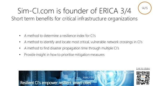 Sim-CI.com is founder of ERICA 3/4 Short term benefits for critical infrastructure organizations • A method to determine a...
